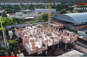 EDIFÍCIO LIKE EM CASCAVEL – FASE DA OBRA EM JANEIRO DE 2019